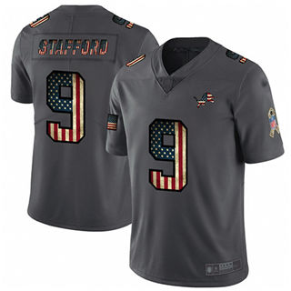 Men's Lions #9 Matthew Stafford Carbon Black Stitched Football Limited Retro Flag Jersey