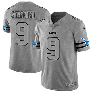 Men's Lions #9 Matthew Stafford Gray Stitched Football Limited Team Logo Gridiron Jersey