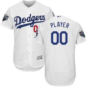 Men's Los Angeles Dodgers Majestic White 2018 World Series Flex Base Custom Jersey