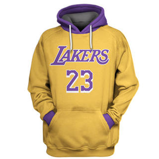Men's Los Angeles Lakers #23 Lebron James Gold All Stitched Hooded Sweatshirt