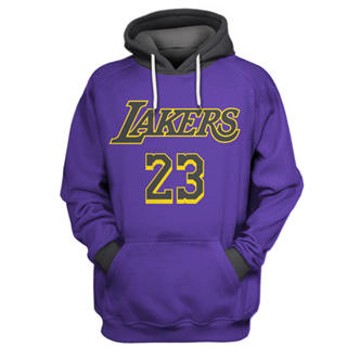 Men's Los Angeles Lakers #23 Lebron James Purple All Stitched Hooded Sweatshirt