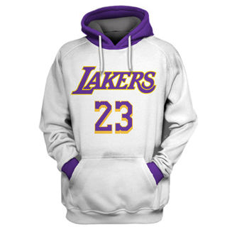 Men's Los Angeles Lakers #23 Lebron James White All Stitched Hooded Sweatshirt
