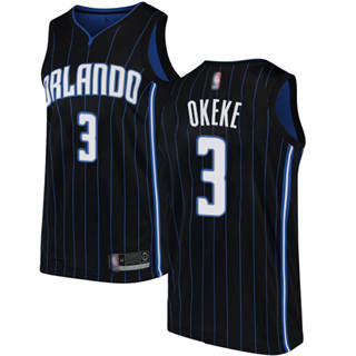 Men's Magic #3 Chuma Okeke Black Basketball Swingman Statement Edition Jersey
