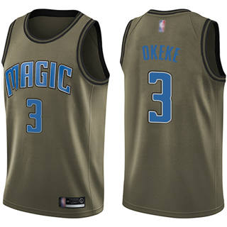 Men's Magic #3 Chuma Okeke Green Basketball Swingman Salute to Service Jersey