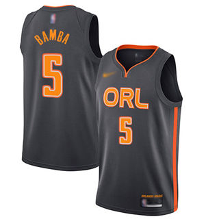 Men's Magic #5 Mohamed Bamba Charcoal Basketball Swingman City Edition 2019-2020 Jersey