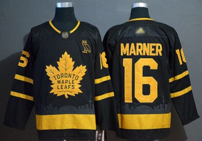 Men's Maple Leafs #16 Mitchell Marner Black Authentic Gold Champions Stitched Hockey Jersey