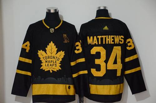 Men's Maple Leafs #34 Auston Matthews Black City Edition Authentic Stitched Hockey Jersey