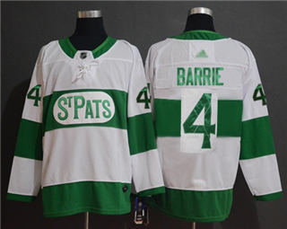 Men's Maple Leafs #4 Tyson Barrie White  St. Pats Stitched Hockey Jersey