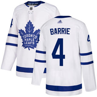 Men's Maple Leafs #4 Tyson Barrie White Road  Stitched Hockey Jersey