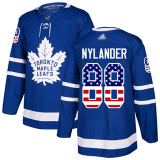 Men's Maple Leafs #88 William Nylander Blue Home Authentic USA Flag Stitched Hockey Jersey