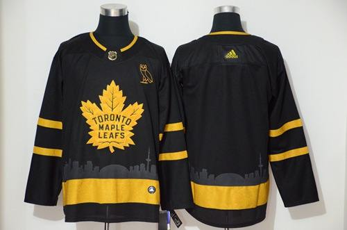 Men's Maple Leafs Blank Black City Edition Authentic Stitched Hockey Jersey