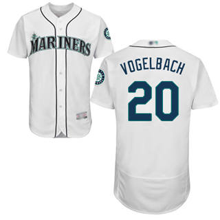 Men's Mariners #20 Dan Vogelbach White Flexbase  Collection Stitched Baseball Jersey