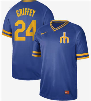 Men's Mariners #24 Ken Griffey Royal  Cooperstown Collection Stitched Baseball Jersey