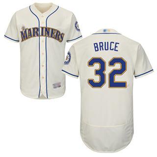 Men's Mariners #32 Jay Bruce Cream Flexbase  Collection Stitched Baseball Jersey
