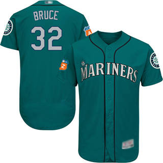 Men's Mariners #32 Jay Bruce Green Flexbase  Collection Stitched Baseball Jersey