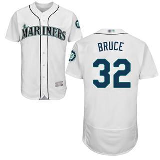 Men's Mariners #32 Jay Bruce White Flexbase  Collection Stitched Baseball Jersey