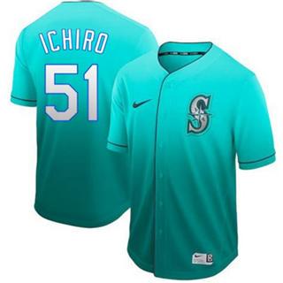 Men's Mariners #51 Ichiro Suzuki Green Fade  Stitched Baseball Jersey