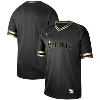 Men's Mariners Blank Black Gold  Stitched Baseball Jersey
