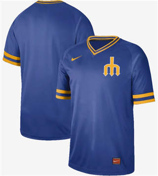 Men's Mariners Blank Royal  Cooperstown Collection Stitched Baseball Jersey