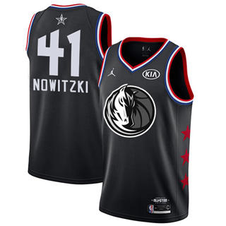 Men's Mavericks #41 Dirk Nowitzki Black Basketball Jordan Swingman 2019 All-Star Game Jersey
