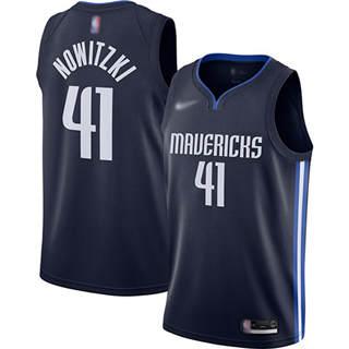 Men's Mavericks #41 Dirk Nowitzki Navy Basketball Swingman Statement Edition 2019-2020 Jersey