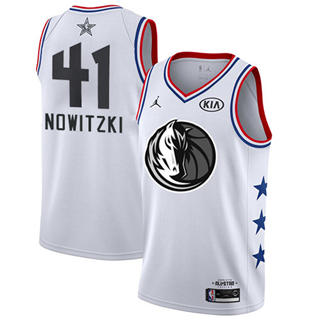 Men's Mavericks #41 Dirk Nowitzki White Basketball Jordan Swingman 2019 All-Star Game Jersey