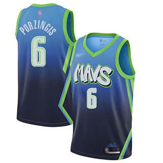 Men's Mavericks #6 Kristaps Porzingis Blue Basketball Swingman City Edition 2019-2020 Jersey