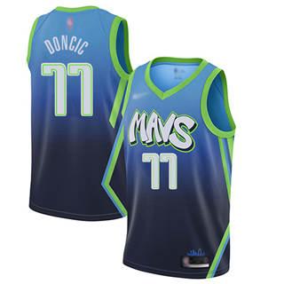 Men's Mavericks #77 Luka Doncic Blue Basketball Swingman City Edition 2019-2020 Jersey