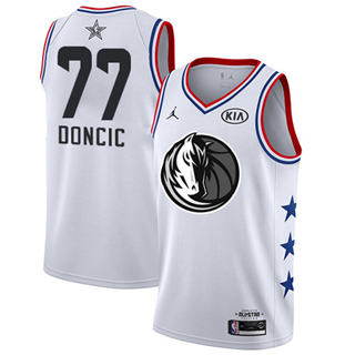 Men's Mavericks #77 Luka Doncic White Basketball Jordan Swingman 2019 All-Star Game Jersey