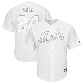 Men's Mets #24 Robinson Cano White Nolo Players Weekend Cool Base Stitched Baseball Jersey