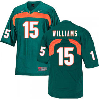 Men's Miami Hurricanes #15 Jarren Williams Jersey Green NCAA