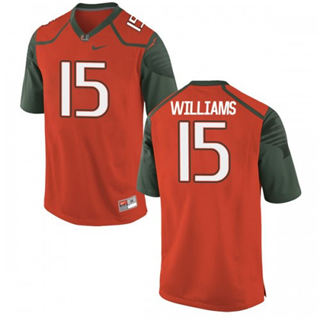 Men's Miami Hurricanes #15 Jarren Williams Orange NCAA 19-20 Football Jersey