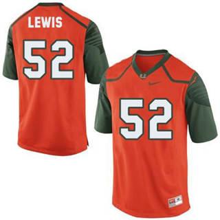 Men's Miami Hurricanes #52 Ray Lewis Orange NCAA Football Jersey