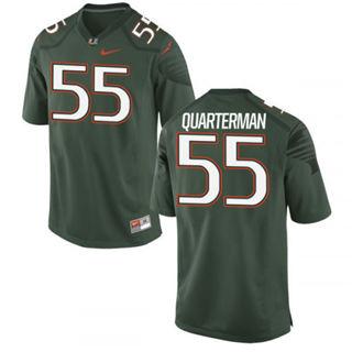 Men's Miami Hurricanes #55 Shaquille Quarterman Jersey Green Sewn NCAA