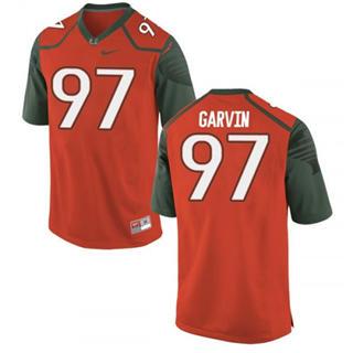Men's Miami Hurricanes #97 Jonathan Garvin Jersey Orange Stiched NCAA