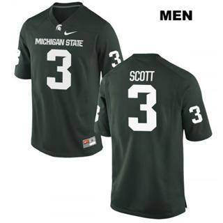 Men's Michigan State Spartans #3 LJ Scott Green Football Jersey
