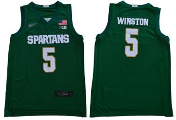 Men's Michigan State Spartans #5 Cassius Winston Green 2019 Stitched College Basketball Jersey