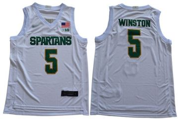 Men's Michigan State Spartans #5 Cassius Winston White 2019 Stitched College Basketball Jersey