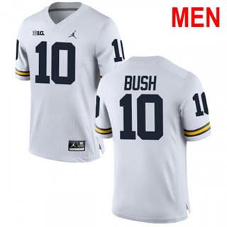 Men's Michigan Wolverines #10 Devin Bush Jr. Jersey White NCAA