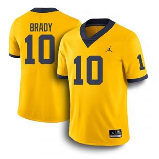 Men's Michigan Wolverines #10 Tom Brady Jersey Yellow NCAA