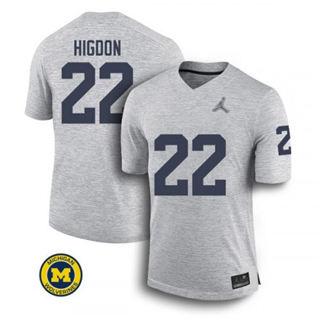 Men's Michigan Wolverines #22 Karan Higdon Jersey Grey NCAA 19-20