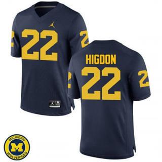 Men's Michigan Wolverines #22 Karan Higdon Jersey Navy NCAA 19-20