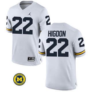 Men's Michigan Wolverines #22 Karan Higdon Jersey White NCAA 19-20