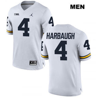 Men's Michigan Wolverines #4 Jim Harbaugh White Football Jersey