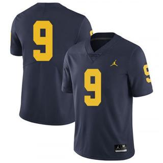 Men's Michigan Wolverines #9 Donovan Peoples-Jones Jersey No Name Navy