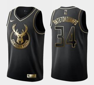 Men's Milwaukee Bucks #34 Giannis Antetokounmpo Black Gold Basketball Swingman Jersey
