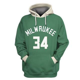 Men's Milwaukee Bucks #34 Giannis Antetokounmpo Green All Stitched Hooded Sweatshirt