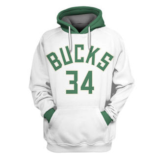 Men's Milwaukee Bucks #34 Giannis Antetokounmpo White All Stitched Hooded Sweatshirt
