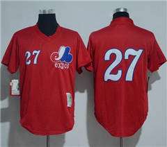 Men's Montreal Expos #27 Vladimir Guerrero Mitchell And Ness 1989 Red Throwback Stitched Baseball Jersey