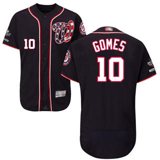 Men's Nationals #10 Yan Gomes Navy Blue Flexbase Authentic Collection 2019 World Series Champions Stitched Baseball Jersey